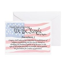 Amendment I and Flag Greeting Cards (Pk of 10)