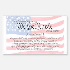 Amendment I and Flag Rectangle Decal
