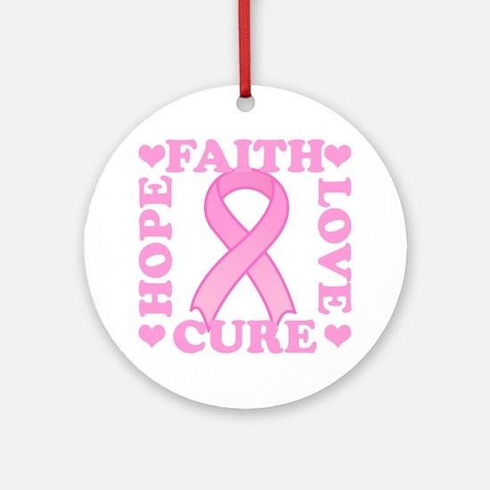Hope Faith Love Cure Ornament (Round)