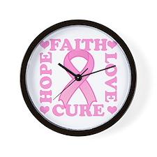 Hope Faith Love Cure Wall Clock