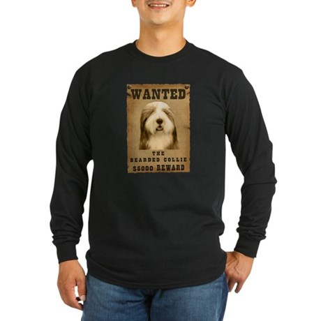 """Wanted"" Bearded Collie Long Sleeve Dark T-Shirt"