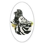 English Trumpeter Dark Splash Oval Sticker