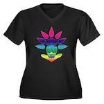 Rainbow Seated Yogi Women's Plus Size V-Neck Dark
