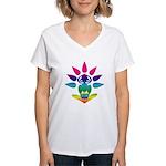 Rainbow Seated Yogi Women's V-Neck T-Shirt