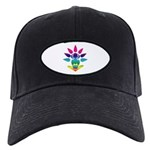 Rainbow Seated Yogi Black Cap