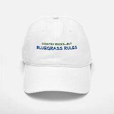 Baseball Baseball Cap: Country Rocks, BLUEGRASS RULES (white or tan)