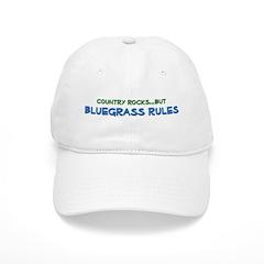 Baseball Cap: Country Rocks, BLUEGRASS RULES (white or tan)