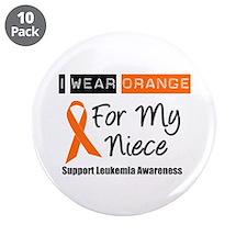 "Leukemia I Wear Orange 3.5"" Button (10 pack)"