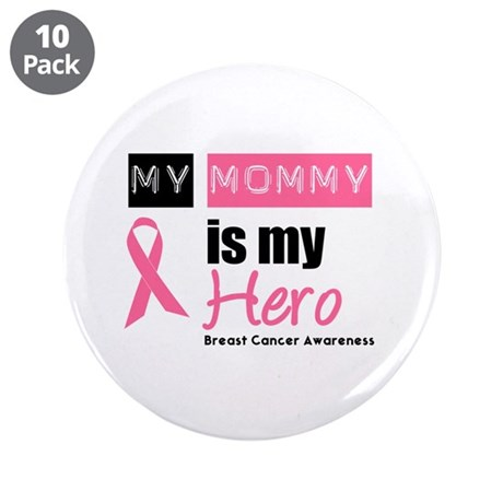 """Breast Cancer Hero 3.5"""" Button (10 pack)"""