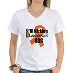 KickingLeukemiaAss Women's V-Neck T-Shirt