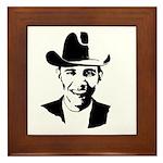 Cowboy Obama Framed Tile