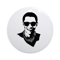 Hipster Obama Ornament (Round)