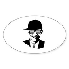 Barack Obama Hipster Glasses Oval Decal
