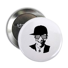 """Barack Obama Hipster Glasses 2.25"""" Button"""