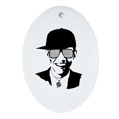 Barack Obama Hipster Glasses Oval Ornament