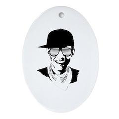 Barack Obama Hipster Oval Ornament
