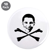 "Obama Crossbones 3.5"" Button (10 pack)"