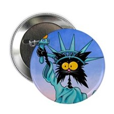 STATUE OF LIBERTY CAT Button