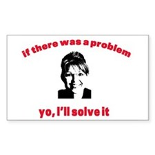 YO, PALIN WILL SOLVE IT Rectangle Decal