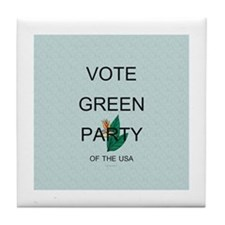 Green Party Tile Coaster