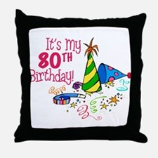 It's My 80th Birthday (Party Hats) Throw Pillow
