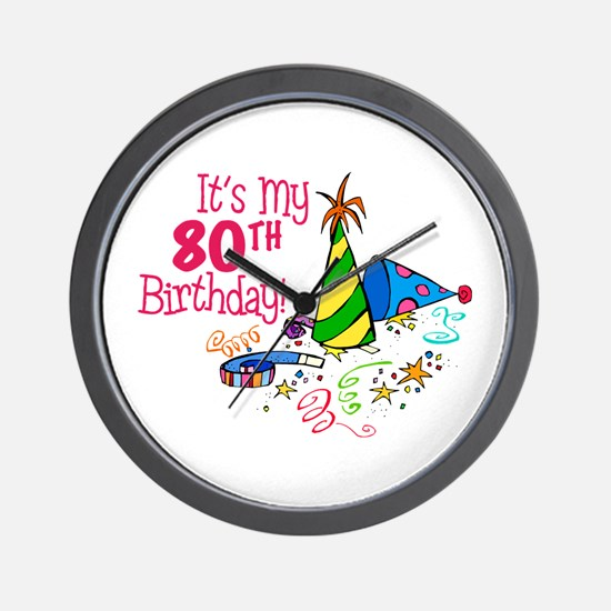 It's My 80th Birthday (Party Hats) Wall Clock