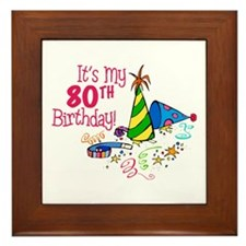 It's My 80th Birthday (Party Hats) Framed Tile