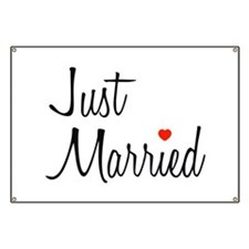 Just Married (Black Script w/ Heart) Banner
