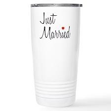 Just Married (Black Script w/ Heart) Travel Mug