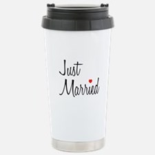Just Married (Black Script w/ Heart) Travel Mug
