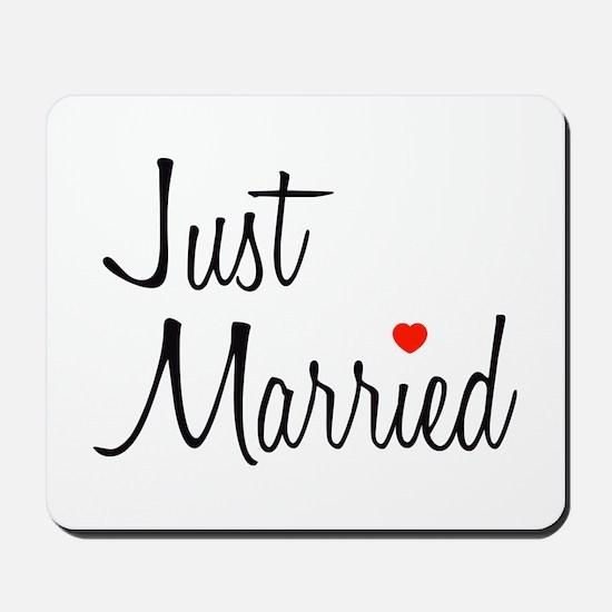 Just Married (Black Script w/ Heart) Mousepad