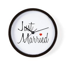 Just Married (Black Script w/ Heart) Wall Clock