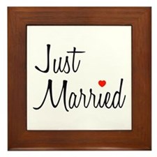 Just Married (Black Script w/ Heart) Framed Tile