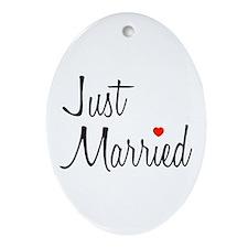 Just Married (Black Script w/ Heart) Ornament (Ova