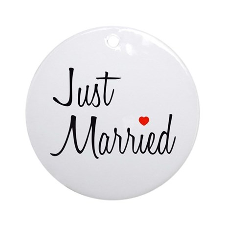 Just Married (Black Script w/ Heart) Ornament (Rou