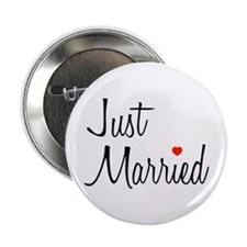 "Just Married (Black Script w/ Heart) 2.25"" Button"