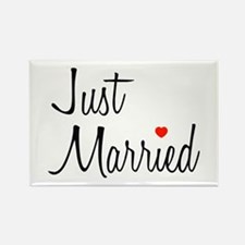 Just Married (Black Script w/ Heart) Rectangle Mag