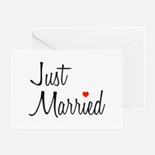 Just Married (Black Script w/ Heart) Greeting Card