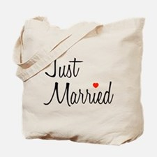 Just Married (Black Script w/ Heart) Tote Bag