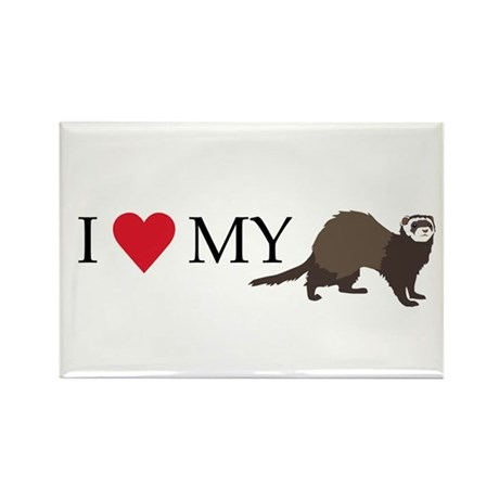I Love My Ferret Rectangle Magnet
