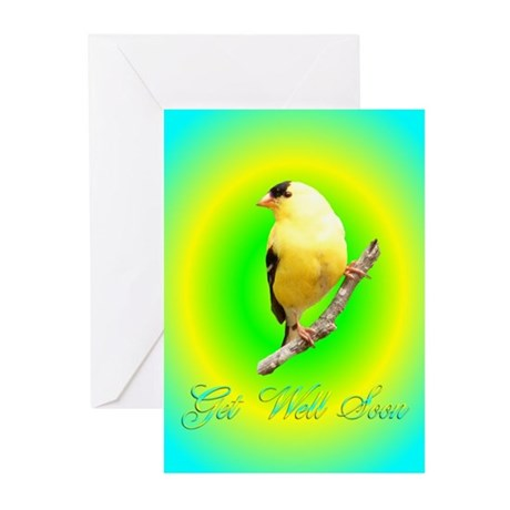 Goldfinch Get Well Greeting Cards (Pk of 10)