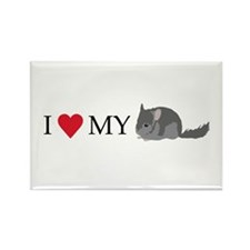 I Love My Chinchilla Rectangle Magnet