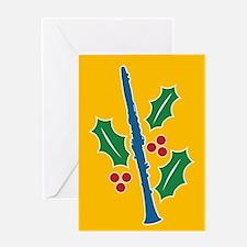 Clarinet Holly Greeting Card