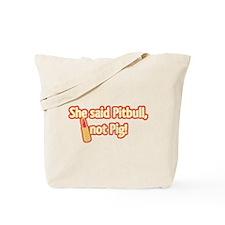 Retro Pitbull, Not Pig, w/Lipstick Tote Bag