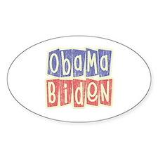 Retro Obama Biden Logo Oval Decal