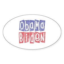 Retro Obama Biden Logo (2) Oval Decal