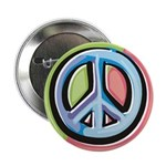 Painted Peace Sign Large Button