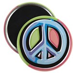 Painted Peace Sign Round Magnet