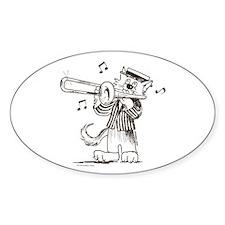 Catoons Trombone Cat Oval Decal