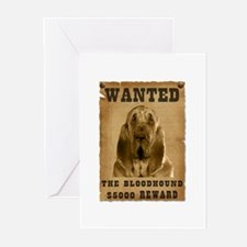 """""""Wanted"""" Bloodhound Greeting Cards (Pk of 20)"""